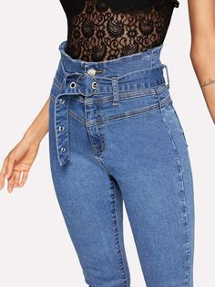 To find out about the High Waist Raw Hem Skinny Jeans at SHEIN, part of our latest Jeans ready to shop online today! Womens Ripped Jeans, Denim Jeans, Mom Jeans, Skinny Jeans, High Jeans, High Waist Jeans, Latest Jeans, Spandex Pants, Fashion News