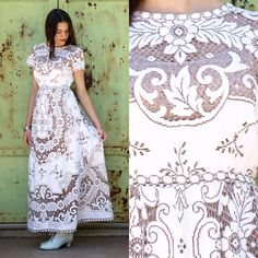 Vintage rare cotton French two tone antique lace wedding maxi dress L » Would be so beautiful with a yellow slip under it or a light pink, ooh, so pretty!