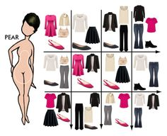 15 Item Capsule Wardrobe for Pear Shape - Fashion Pear Shaped Dresses, Pear Shaped Outfits, Capsule Wardrobe, Pear Shape Fashion, Fashion Mode, Womens Fashion, Pear Shaped Women, Pear Body, Modelos Fashion