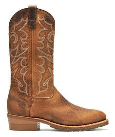 7fd9de4e4a6db Double-H Boots Light Brown Embroidered Leather Cowboy Boot - Men