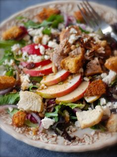 apple grilled chicken salad with maple french press vinaigrette