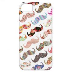 Funny Girly Colorful Patterned Mustaches on an iPhone 5 case. A cool retro design on white background. Features a range of patterns including floral, aztec, stripes, polka dots and more.