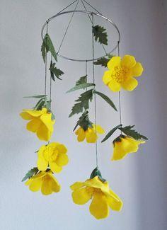 Yellow Buttercups Felt Crib Mobile Felt Flower by ThreadandHeart