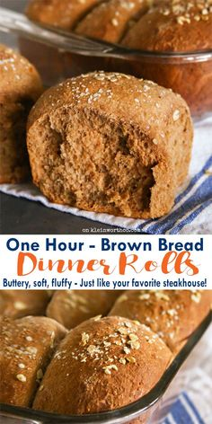 One Hour Brown Bread Dinner Rolls-Buttery, soft, fluffy dinner rolls literally take just 60 minutes to make! Just like your favorite steakhouse! The perfect recipe for holidays & gatherings. via @KleinworthCo