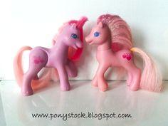 Sweet Berry (Magic Motion Friends 1998) & Princess Sweet Berry (Masquarade Ball Ponies 1999) G2 My Little Pony Hasbro