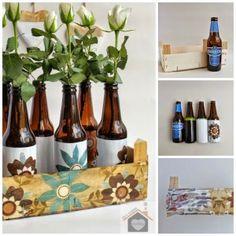 Fruitkistje en bierflesjes als mooie decoratie ...met uitleg hoe te maken..