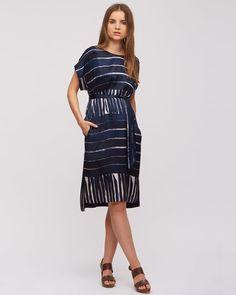 Engineered Stripe Kimono Dress