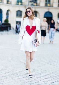 Paris Fashion Week Haute Couture street style  Olivia Palermo heart dress  Street Style Looks ece187c6d