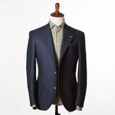 Eidos Navy Donegal herringbone sport coat, 10/11 oz wool & cashmere