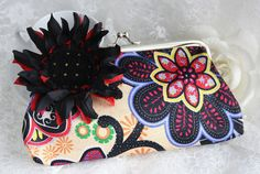 Big black sunflower flower clutch retro chic by missvirgouk, wallet handbag cosmetic bag