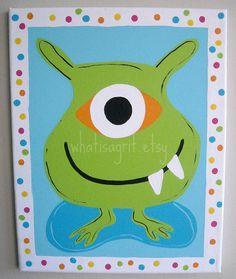 Nursery Wall Art Kids Room Children's Room Decor Monster Art Canvas Painting Baby Room