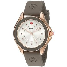 MICHELE Women's 'Cape' Quartz Stainless Steel and Silicone Dress... ($345) ❤ liked on Polyvore featuring jewelry, watches, quartz movement watches, stainless steel wrist watch, dress watches, silicone wrist watch and quartz jewelry
