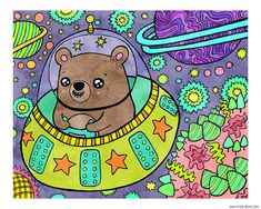 Space Bear 8 x 10 Illustration Print by MyZoetrope on Etsy, $20.00
