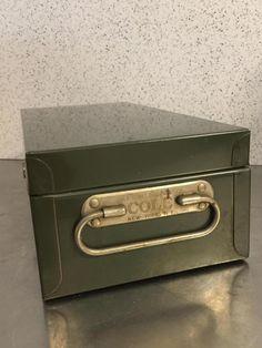 Vintage Metal File Cash Box Storage Green  by PineStreetPickers