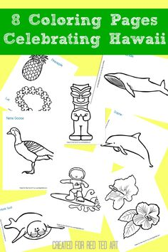 Learning about Hawaii - check out these 8 wonderful coloring pages celebrating hawaii - I particularly LOVE the Tiki God & Surfing Dude