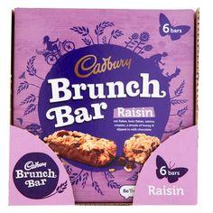 Buy Cadbury Brunch Bars: Raisin (Case of 36 Bars) at Home Bargains Cadbury Milk Chocolate, Brunch Bar, Rice Flour, Fresh Start, Cocoa Butter, Raisin, Kiwi, Nutrition, Snacks
