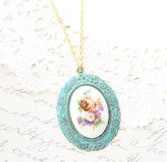 Vintage Limoges Rose Necklace  Floral Verdigris Necklace
