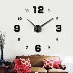 Nalepovacie hodiny Clock BIG L, čierne Diy Clock, Cladding, Stickers, 3d, Home Decor, Decoration Home, Room Decor, Home Interior Design, Home Decoration