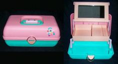 CABOODLES!!!!! My brother gave me my first one for Christmas in 1992! It was black on the bottom and hot  pink on the top. I LOVED IT!! WISH I STILL HAD IT : (