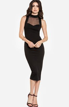 Sultry Bodycon midi dress with mesh