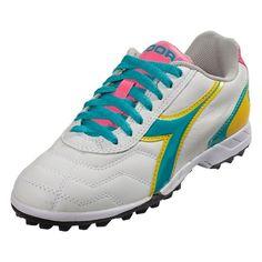 Diadora Womens Capitano LT TF Artificial Turf Soccer Shoe - White/Teal