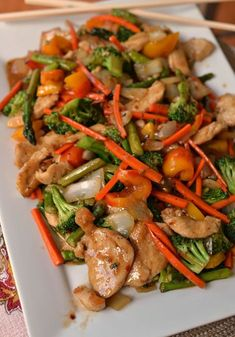 Basic Chicken Stir Fry is so quick to make using seasonal vegetables, an easy chicken marinade and a simple gravy that can be adjusted to taste. Chinese Vegetables, Fried Vegetables, Chicken Thigh Stir Fry, Asian Recipes, Healthy Recipes, Weeknight Recipes, Chinese Recipes, Meat Recipes, Healthy Food