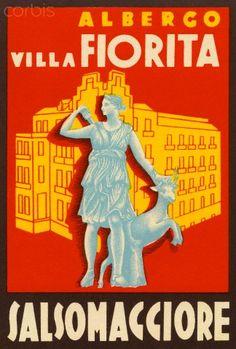 ITALY Villa Fiorita Salsomaggiore Luggage Label