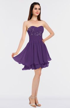 5efb59b7d89 Glamorous A-line Strapless Sleeveless Mini Beaded Bridesmaid Dresses Dark  Purple Bridesmaid Dresses