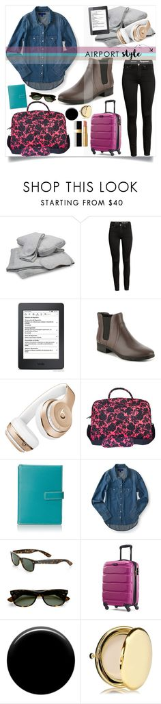 """Airport Style"" by dawnner ❤ liked on Polyvore featuring Easy Spirit, Beats by Dr. Dre, Vera Bradley, Lodis, Rayban, Samsonite, Lauren B. Beauty, Estée Lauder, Too Faced Cosmetics and airportstyle"