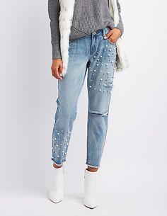 Refuge Destroyed Pearl Applique Jeans | Charlotte Russe