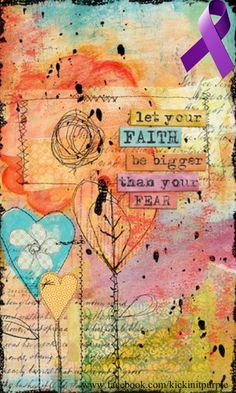 """""""Let your faith be bigger than your fear."""" I like this because fear is a daily companion to me, and it seems sometimes like I will never be free of it. But maybe I can feed my faith and the fear will one day be dwarfed, if never quite gone. Art Journal Pages, Art Journals, Junk Journal, Mix Media, Mixed Media Art, Bibel Journal, Bible Art, Art Journal Inspiration, Medium Art"""