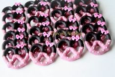 Red Black Birthday Party Favors Girl Mouse Cookies Red Black Chocolate Pretzels Polka Dot Bow Dessert Red Black Polka Dot Girl Birthday Idea Red Black Birthday Party Favors Girl Mouse by CupcakeNovelties Mickey Mouse Clubhouse, Minnie Mouse Birthday Theme, 2nd Birthday Party For Girl, Theme Mickey, Minnie Mouse Baby Shower, Birthday Party Favors, Minnie Mouse Favors, Birthday Ideas, Minnie Mouse Cookies