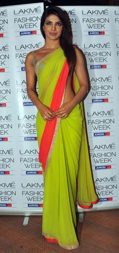 Priyanka Chopra aka Piggy Chops spotted wearing an acid green neon Manish Malhotra sari with a bikini choli #Bollywood #Fashion