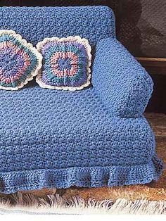 Crochet - Kitty Couches - Blue Couch