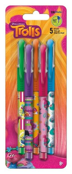 These Trolls Movie Colored Gel Pens are perfect for planning, for work, home, desk or for school. They will be a beautiful addition to your pen collection! • 0.7mm Gel Ink • Non-toxic • Writes very sm