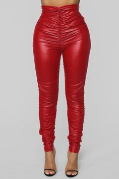 6054e3d3f2e48 Ride Or Die Chick Ruched Leggings - Red