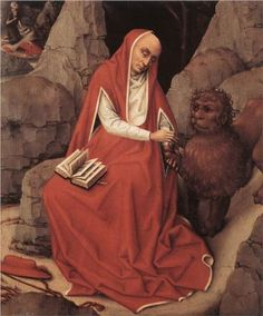 Saint Jerome and the Lion, Rogier van der Weyden, 1450. A lion. Oh come on now.
