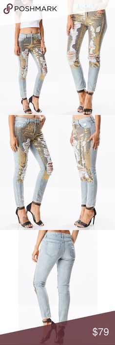 MADE FOR ME Skinny Jeans You are sure to be noticed in these gold sequin distressed denim skinnies!  100% cotton  NO TRADE  PRICE FIRM Bellanblue Jeans Skinny