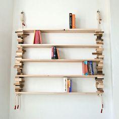 Natural Bookshelves Made Of Mixed Wood Blocks - DigsDigs Homemade Bookshelves, Hanging Bookshelves, Wood Bookshelves, Wooden Shelves, Wood Shelf, Creative Bookshelves, Wall Shelves, Diy Bookcases, Credenzas
