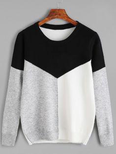 Jersey con cuello redondo de color combinado
