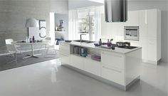 glossy white kitchen island