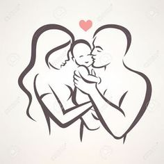 Illustration about Happy family stylized vector symbol, young parents and child. Illustration of romantic, line, sketch - 76612325 Pencil Art Drawings, Art Drawings Sketches, Easy Drawings, Tattoo Famille, Father And Baby, Mother Son, Line Drawing, Line Art, Coloring Pages