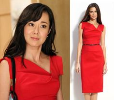 "Mistresses episode 5: Karen (Yunjin Kim) wore Black Halo's ""Jackie"" sheath dress in red #getthelook #mistresses"