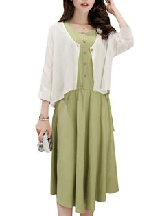 Specification:  Style:Fashion,Elegant Season:Autumn Material:Cotton+Flax Pattern:Pure Color Collar:O-neck Length:Knee Length Sleeve Length:3/4 Sleeves Color:Yellow,Red,Green   Package included:  1*Dress+Cardigan   Note: The cardigan has a little transparent, please based on the clothes picture.