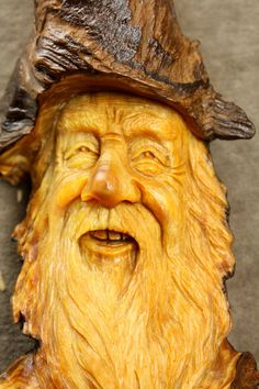 Wood Spirit Wood Carving Anniversary Gift by TreeWizWoodCarvings, $125.00