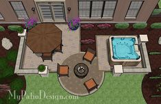 this is just perfect! I love the hot tub and the fire pit!  Hot Tub Patio Design - Patio Designs & Ideas