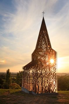 Transparent all-steel chapel: consisting of 2000 10m high columns and designed by Gijs Van Vaerenbergh