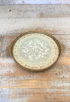 Vanity Tray Lace Vanity Tray Small Glass and Brass Tray Antique Lace Doily Tray Victorian Dresser Tray Brass Wedding Decor Small Tray by TheDustyOldShack on Etsy