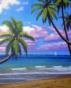 Adventures in Paradise Watercolor Landscape, Landscape Art, Landscape Paintings, Watercolor Paintings, Landscapes, Canvas Painting Tutorials, Acrylic Wall Art, Tropical Art, Surf Art