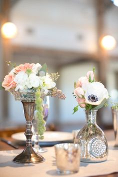 vintage centerpiece display with anemones | Photo by EE Photography